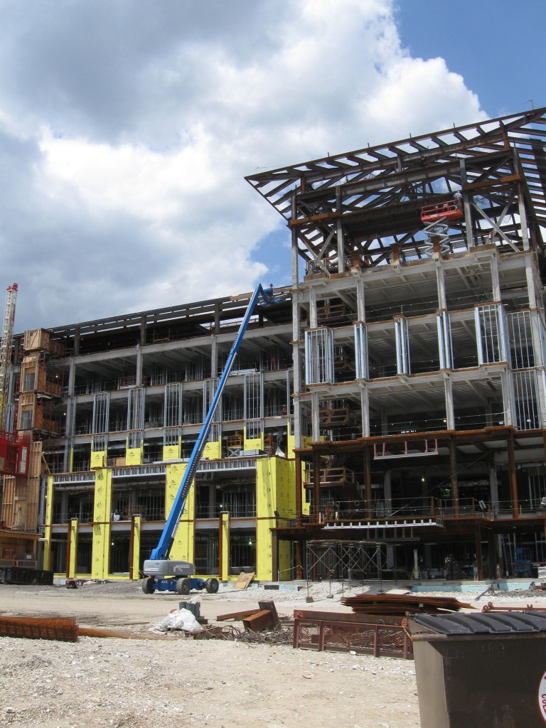 Bennett & Brosseau Roofing Inc. uses a Genie Telescopic S Stick Boom on the Elmhurst Memorial Healthcare project.