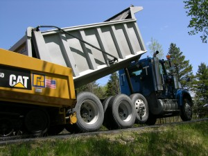Mix was trucked to the job from Pike Industry's 4-ton batch plant in Waterford, Vermont.