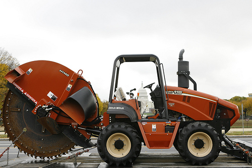 Ditch Witch of Maryland was one of many supporters of the DC Rally on the National Mall, providing this RT115 Concrete Saw as part of the staged rally equipment. Ditch Witch of Maryland also supplied equipment and drove in the Idle Equipment Caravan.