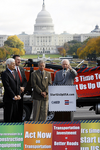 Rep. Jim Oberstar (D-MN) speaks during a press conference in front of the U.S. Capitol in Washington on Wednesday, Oct. 28, 2009. Congressman Oberstar and other transportation leaders urged swift congressional action to create jobs against a backdrop of idle construction equipment symbolizing the 550,000 jobs lost in that industry. The Start Us Up USA! campaign is calling for a new transportation investment bill before the sprinig construction season begins in early 2010. (AP Photo/Jose Luis Magana)