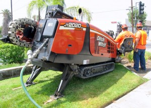 A Ditch Witch JT2020 Mach 1 directional drill bores under Foothill Boulevard (Historic Route 66) in San Bernardino, Calif., for a traffic signal upgrade project. Don Betsworth photo
