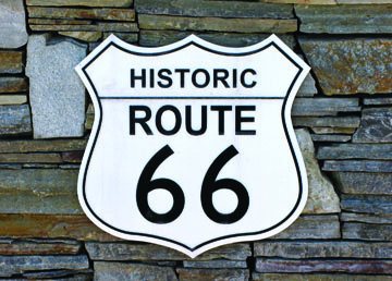 A sign on Foothill Boulevard notes the status of Historic Route 66.