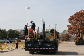 The new paver was demonstrated to a select group of dealers from around the country and representatives for the construction trade press.