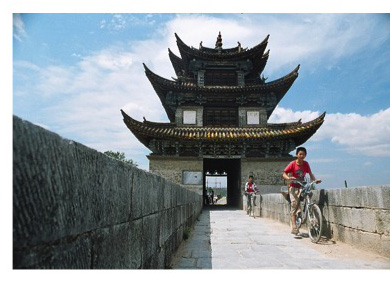 China's next generation bike across a bridge in Souther ?China.