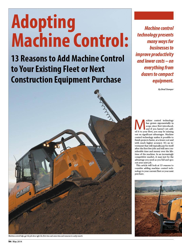 Adopting  Machine Control-