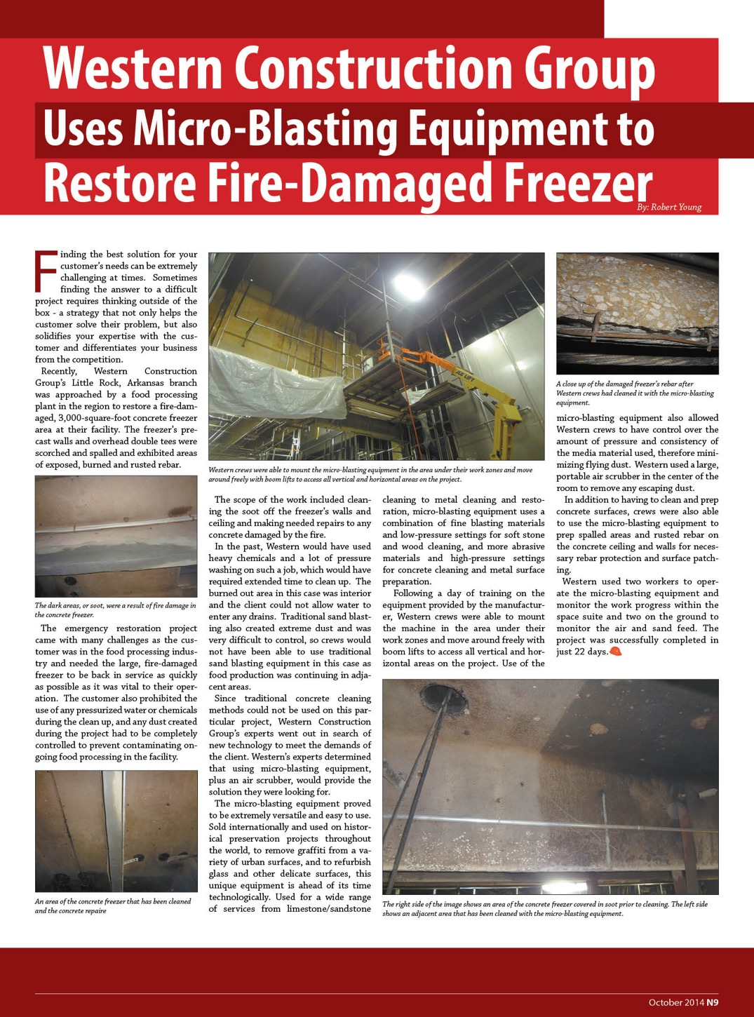 Western Construction Group Uses Micro-Blasting Equipment to  Restore Fire-Damaged Freezer