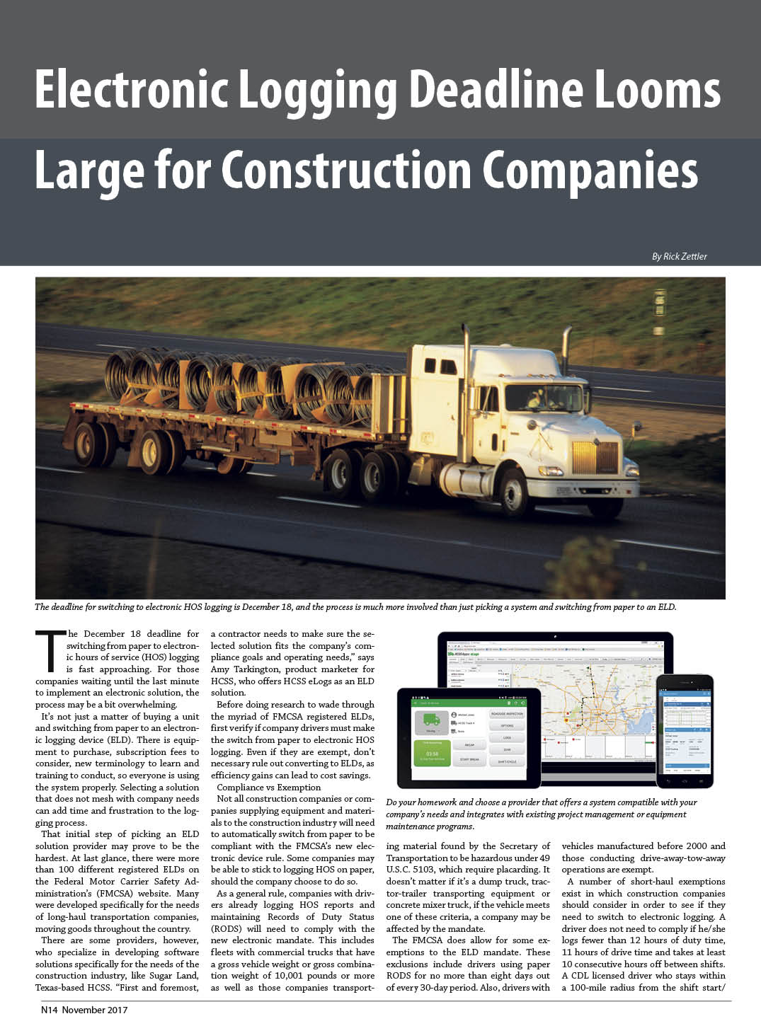 Electronic Logging Deadline Looms Large for Construction